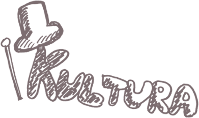 Napis Kultura z rysunkiem cylindra