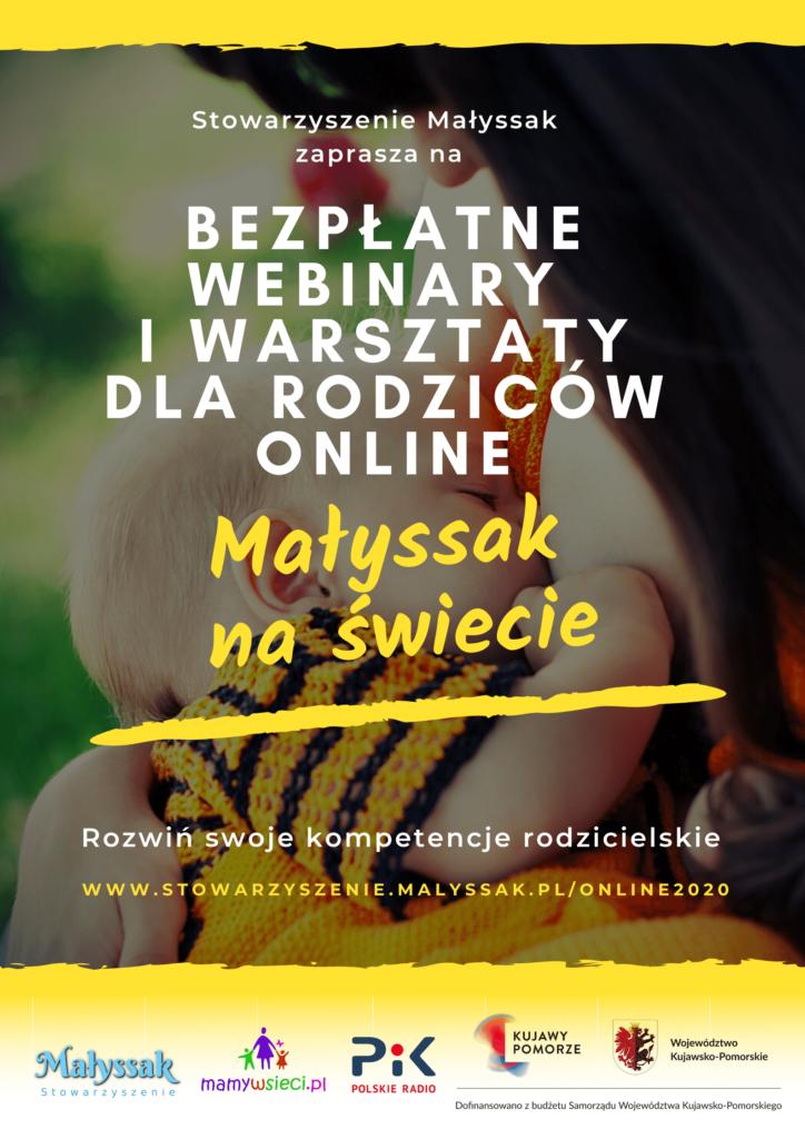 Plakat Bezpłatne webinary i warsztaty sla rodziców online z serii Małyssak na świecie