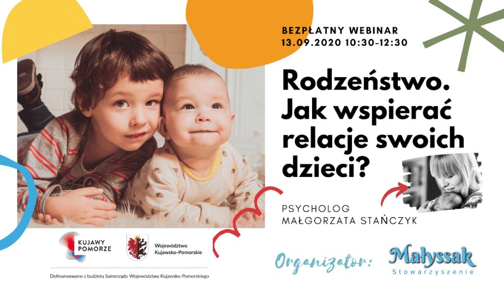Baner webinaru Rodzeństwo Jak wspierać realacje swoich dzieci