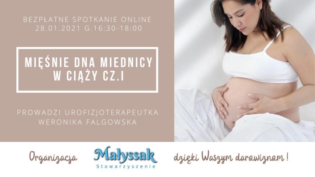 Baner spotkania internetowego pt. Mięśnie dna miednicy w ciąży