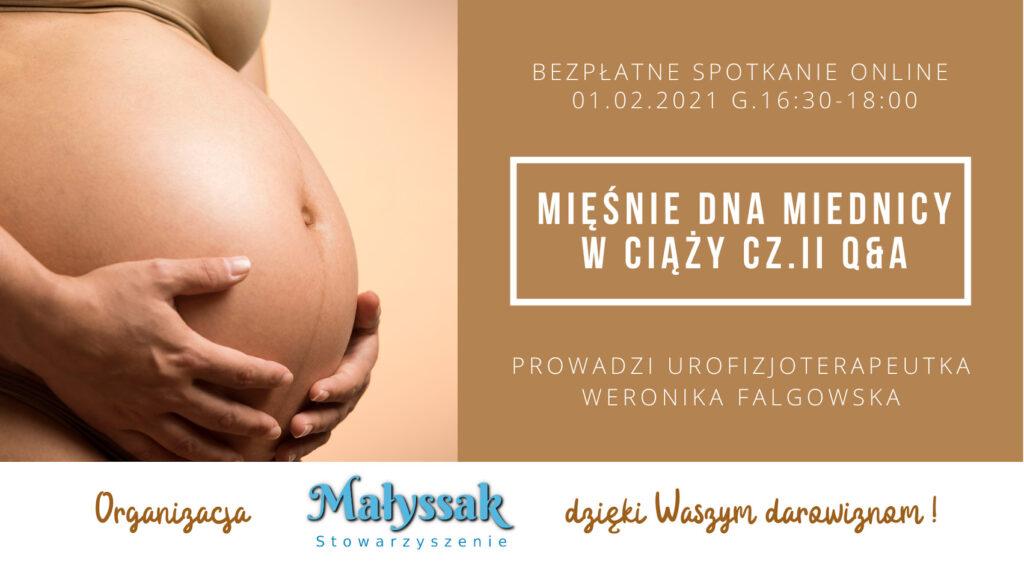 Baner spotkania internetowego pt. Mięśnie dna miednicy w ciąży część druga Q&A