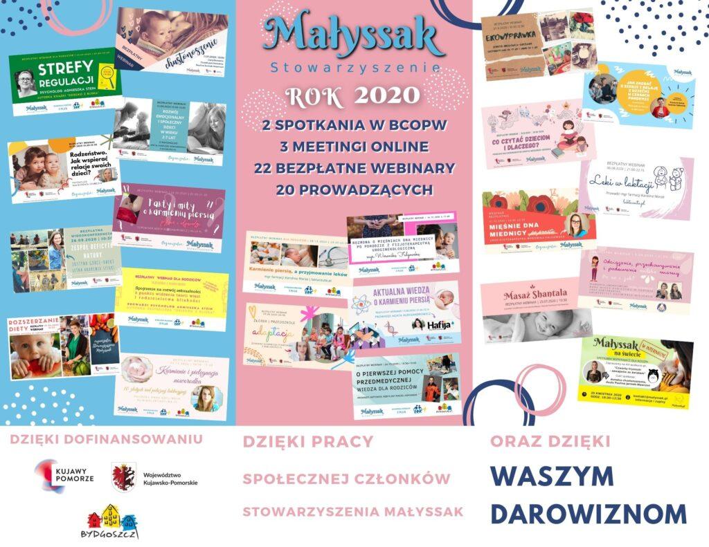 Ulotka z informacjami o zorganizowanych przez Stowazryszenie Małyssak spotkaniach i webinarach w 2020 roku