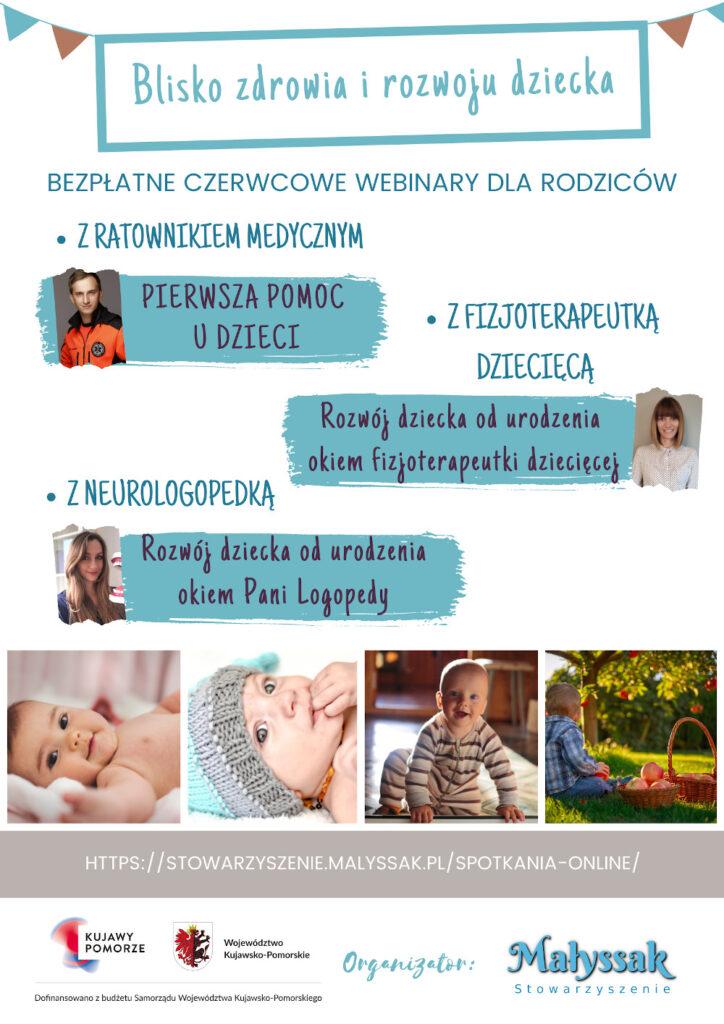 Baner serii 3 webinarów Blisko zdrowia i rozwoju dziecka