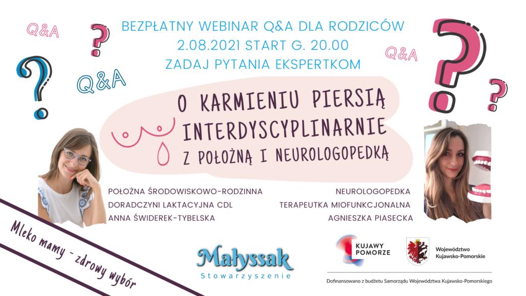Baner webinaru Interdyscyplinarnie o karmieniu piersią z położną i neurologopedką