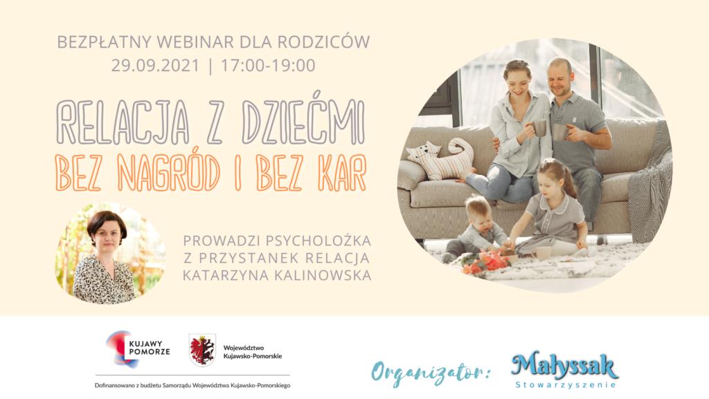Baner webinaru pt. Relacja z dziećmi bez nagród i kar